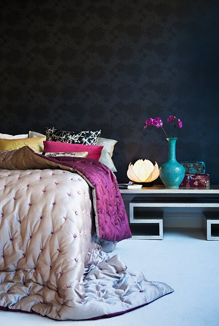 romantic bedroom dark purple velvet accent blue vase turquoise interior decorating shop room ideas jewel color room