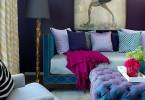 jewel colour rooms dark navy purple walls dramatic tufted ottoman purple violet decor shop room ideas turquoise green sofa velvet eclectic modern fuchsia family room living room