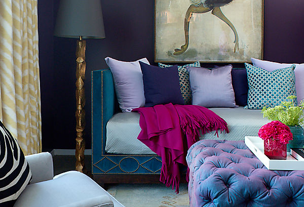jewel colour rooms dark navy purple walls dramatic tufted ottoman purple violet decor shop room ideas turquoise green sofa velvet eclectic modern fuchsia family room living room