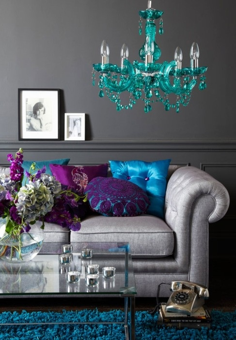 All Grey Living Room Turquoise Chandelier Vintage Clock Blue Shag Carpet  Purple Accent Pillows Shop Room