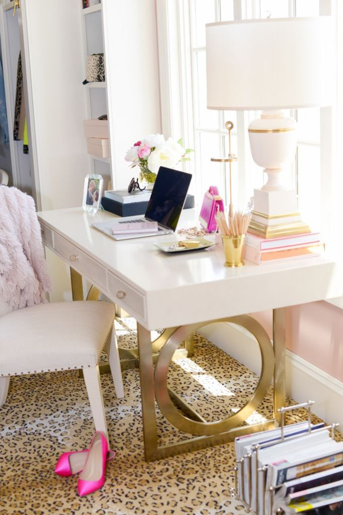 Feminine Office Leopard Carpet Bedroom Pink Heels Girly Desk All White Bedroom Leopard Print Decor Interior