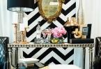 makeup dresser bedroom gold mirror fur ottoman table black lamp urban glam black and white stripe wallpaper shop room ideas .com