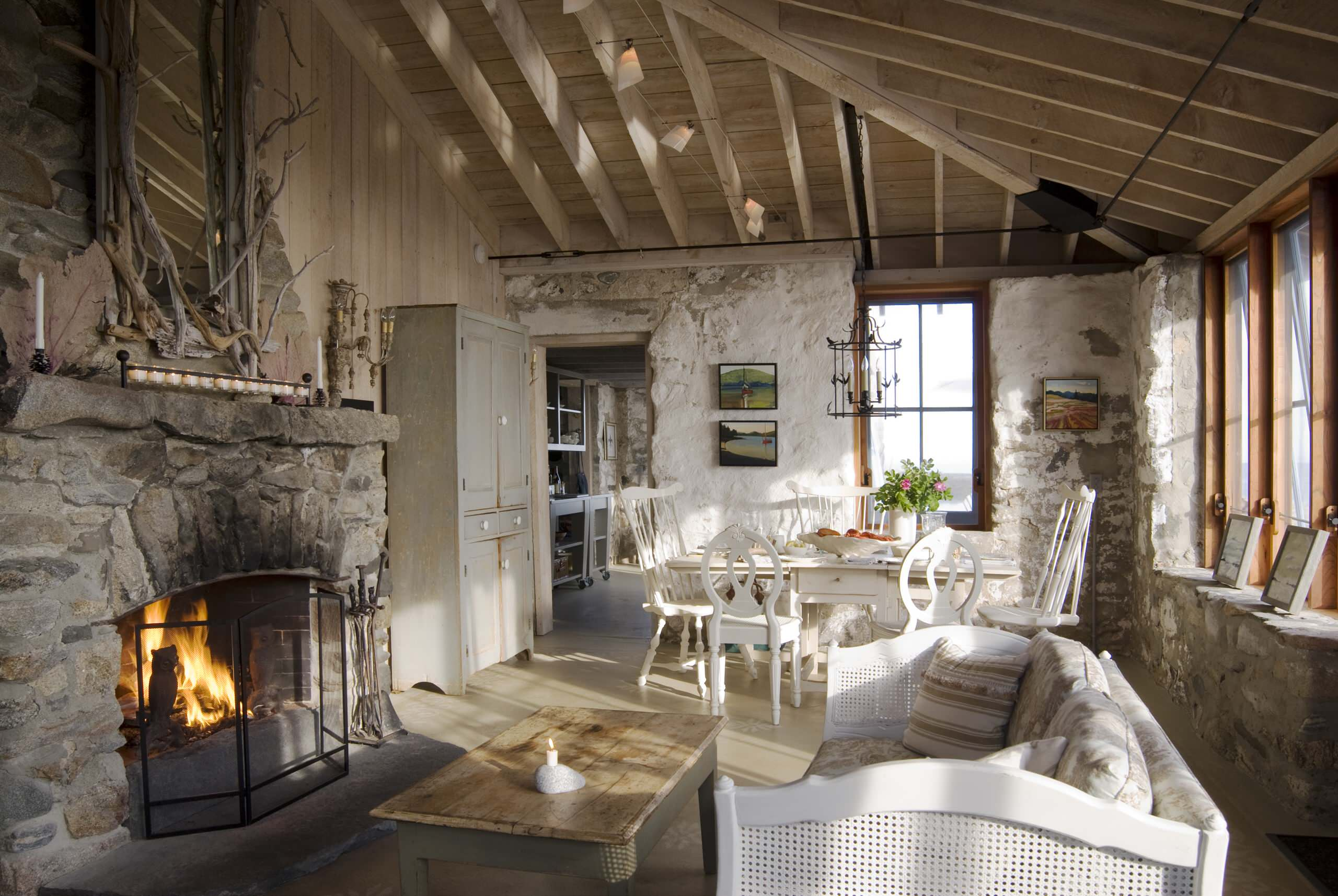 Country Rustic Farmhouse Decor Living Room White Wash Walls Fireplace Stone Cottage Neutral Cream Beige