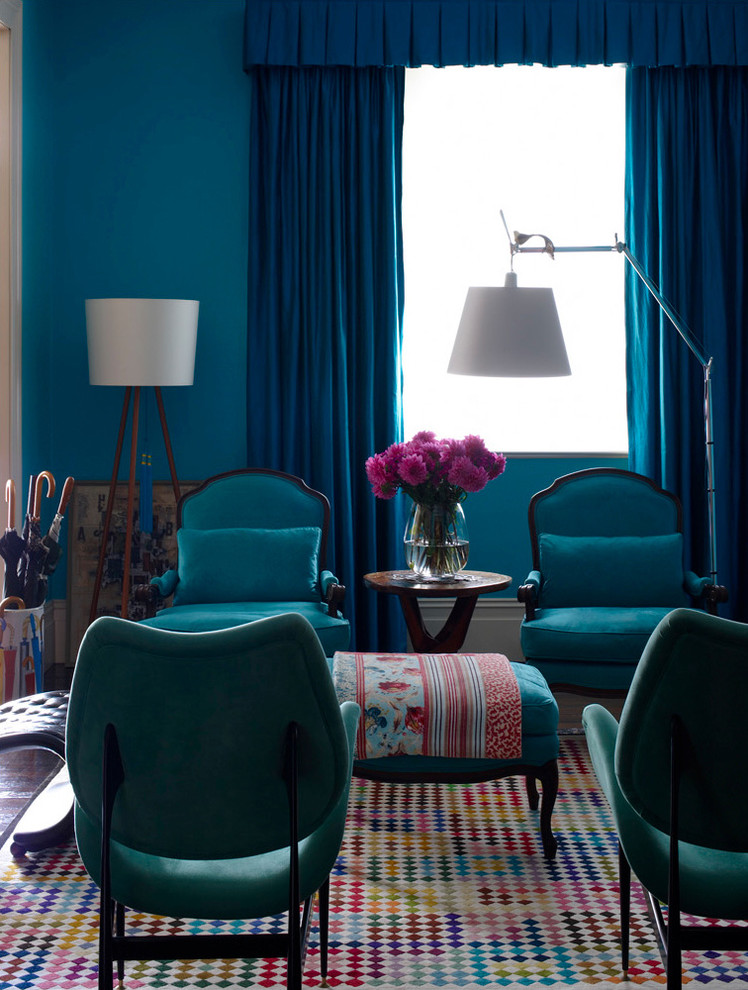 Eclectic Living Room Jewel Color Family Room Turquoise Walls Multi Color  Pattern Carpet Design