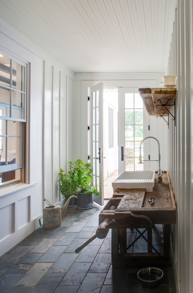 farmhouse-entry home country cottage white wash paneling renovation cottage england english entrance hallway ideas shop room ideas grey gray outdoor tiles granite stone
