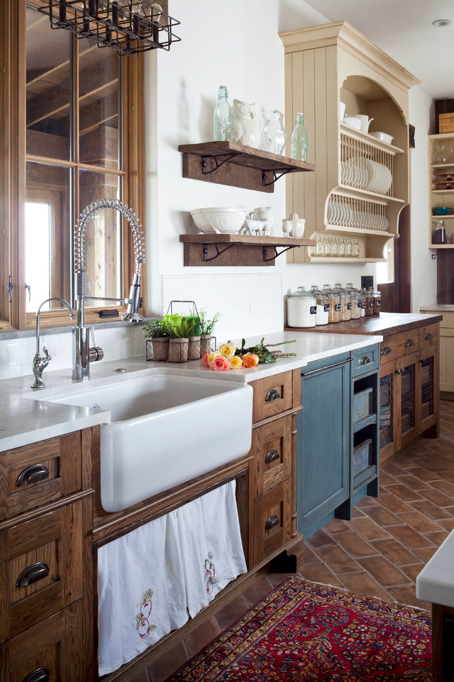 farmhouse kitchen country rustic sink saltillo tile in a running bond application touch free faucet - Rustic Farmhouse Decor