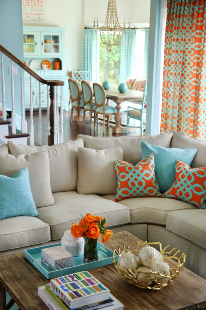Orange Blue Living Room Decor Ideas Accent Pillow Dining Chairs Turquoise And Home