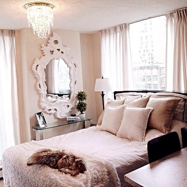 natalie halcro all white baby pink soft bedroom decorating shop room ideas chandelier fur throw white mirror