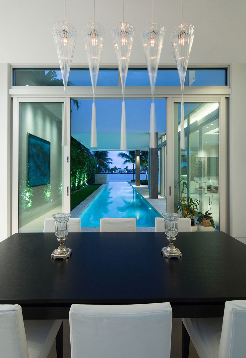 Modern Home Rectangle Pool Living Room Glass Walls Florida Luxury Beach Mansion White