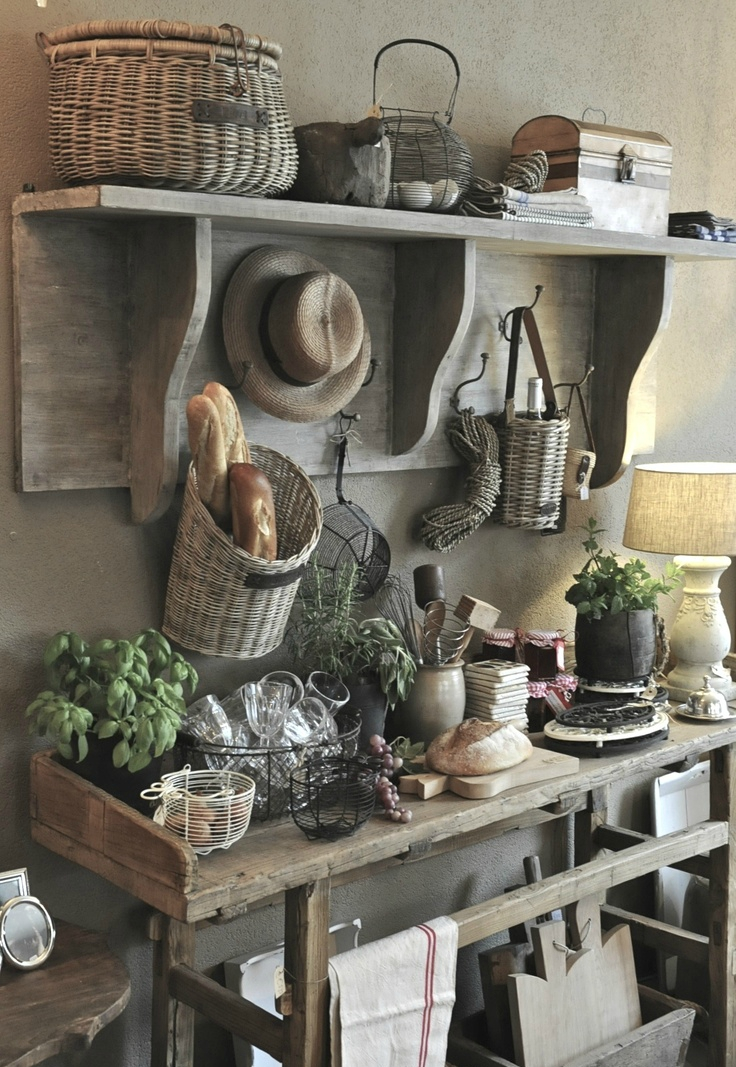 rustic country farmhouse kitchen decor storage ideas natural wood baguette basket barn renovation pinterest inspired shop - Farmhouse Kitchen Decorating Ideas