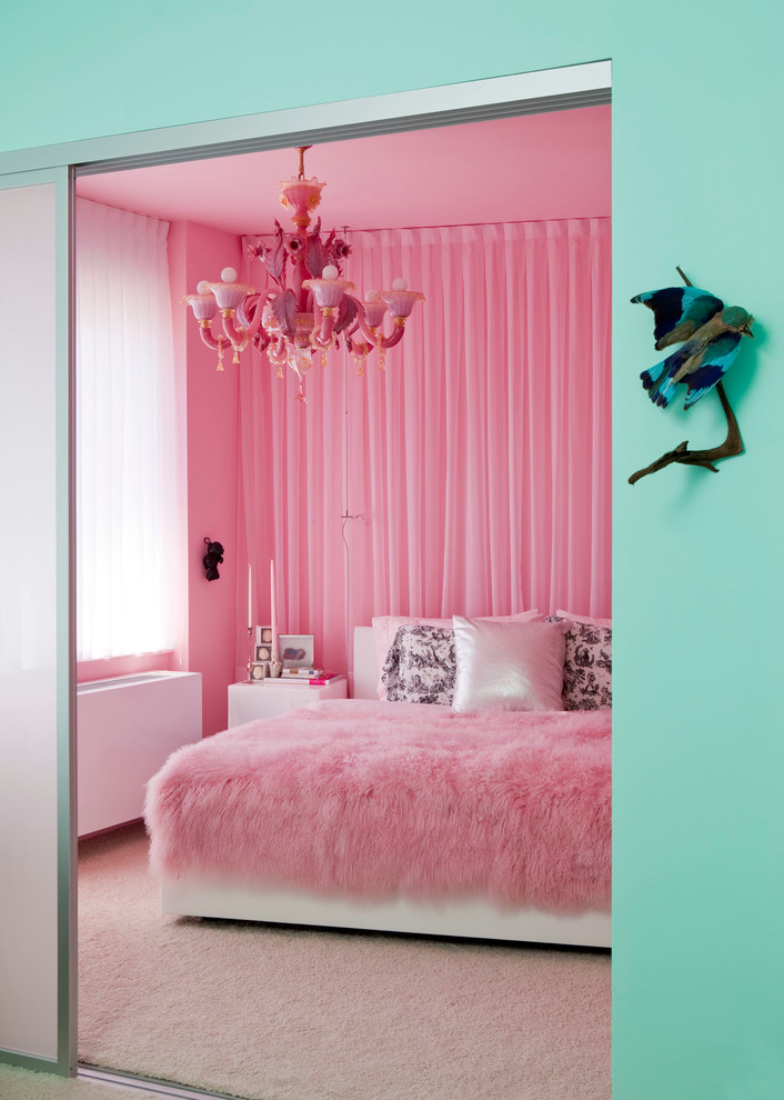 eclectic-bedroom how to decorate girly adult princess theme bedroom  teenagers pink bedding curtains fur