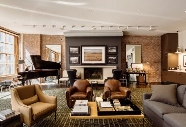 facebook founder industrial new york modern loft apartment family room brown leather sofa ideas condo decorating design ideas shop room ideas brown and beige palette