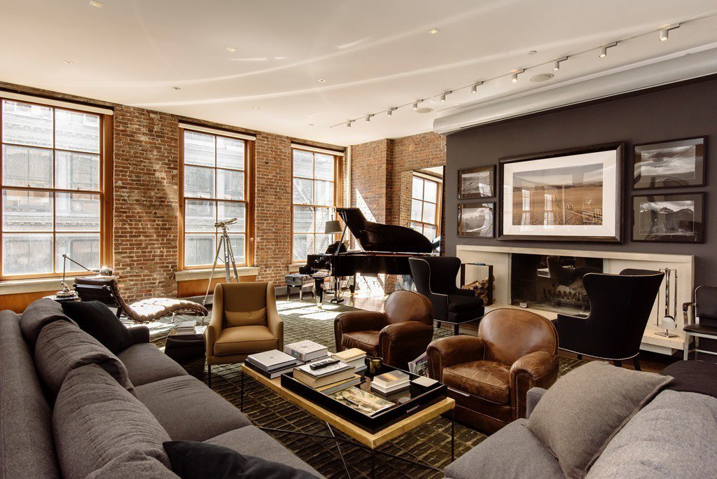 industrial modern condo loft design idea chris hughes facebook mark zuckerberg house grey and brown decorating idea brown leather sofa soho shop room ideas