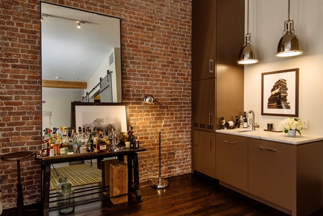 industrial modern masculine condo idea loft manhattan loft brick wall decorating interior design modern lighting lamps wall mirror shop room ideas pinterest