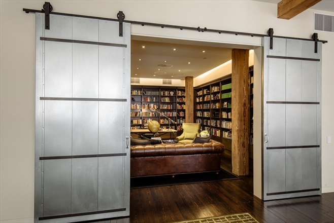 industrial urban modern masculine condo loft design idea interior design shop room ideas steel sliding doors bookshelves library