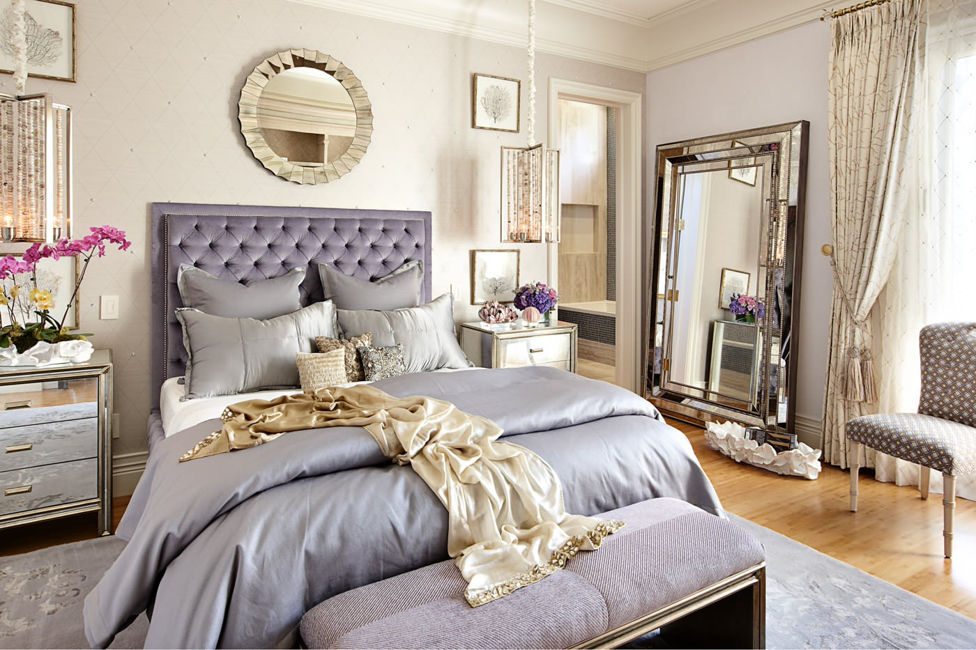 Design Adult Bed 3 steps to a girly adult bedroom shoproomideas las vegas purple princess idea shop room ideas mirror nightstand wall silver houzz
