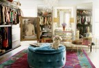 nanette lapor dressing room mirror vanity table ideas luxury glamorous celebrity home townhouse new york velvet ottoman idea purple carpet walk in closet shop room ideas french decor