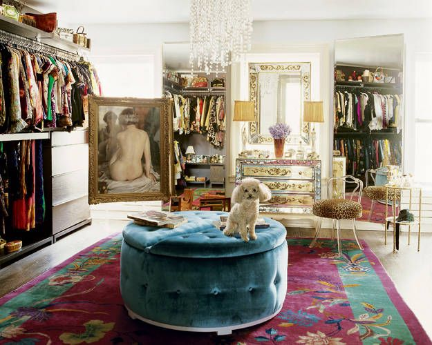 nanette lapor dressing room mirror vanity table ideas luxury glamorous celebrity home townhouse new york velvet ottoman idea purple carpet walk in closet shop room ideas french decor