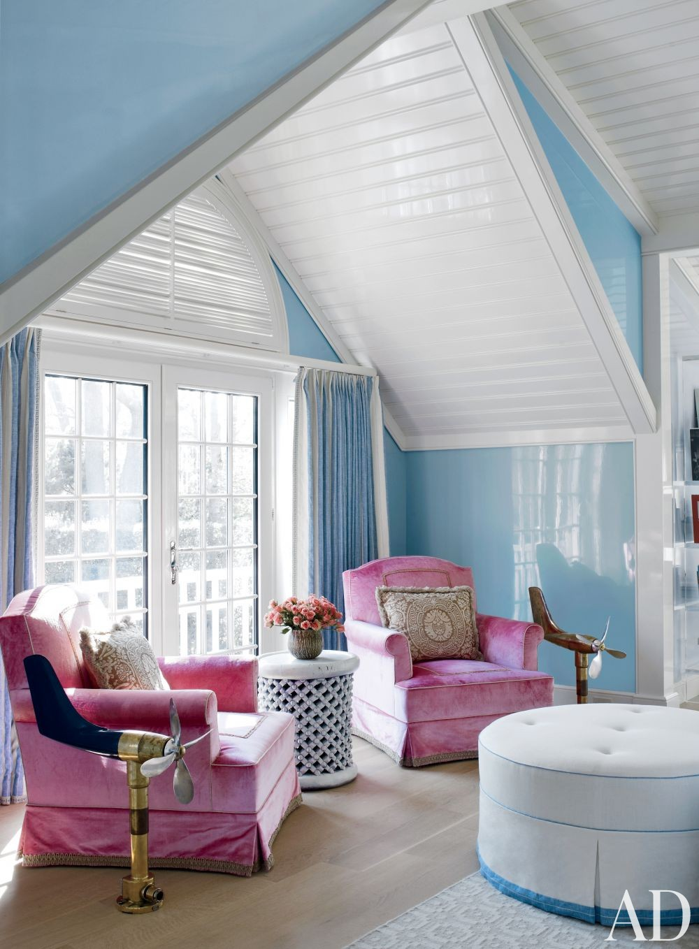 beach-bedroom-baby blue cottage hamptons cathedral ceiling pink velvet sofa chairs inspiration pinterest pantone serentiy double doors terrace balcony french colonial shop room ideas