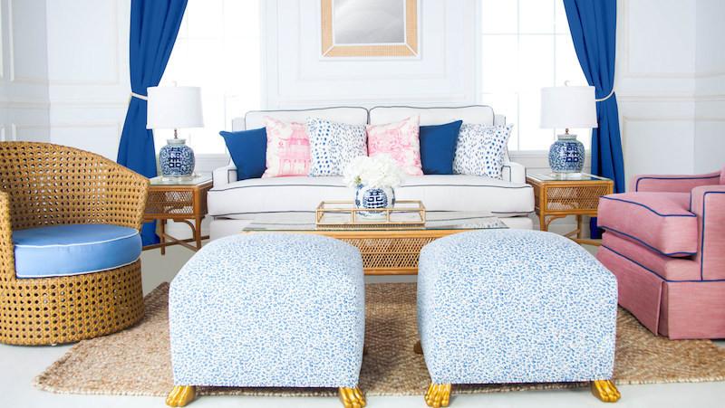 blue decor blue leopard pattern fabric ottoman gold claw legs furniture pinterest home decor deisgn ideas cheap decor furniture shop room ideas