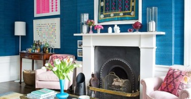 eclectic blue living-room traditional english zebra print couch sofa grasscloth wallpaper covering shop room ideas fireplace decor hang photos frames artwork jessica buckley interiors