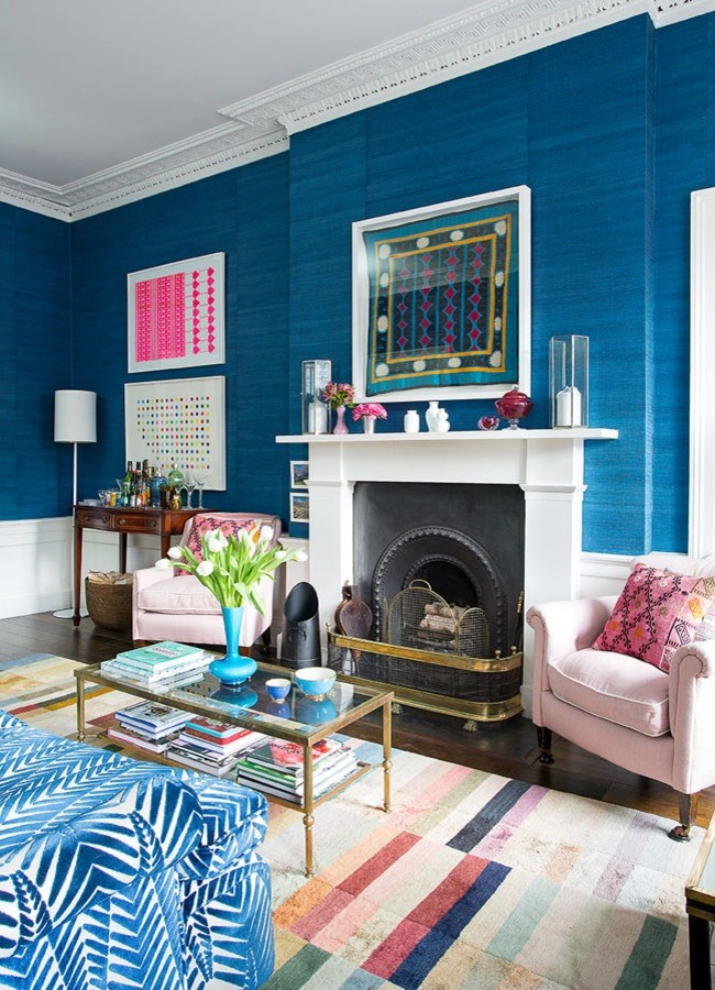 Eclectic Blue Living Room Traditional English Zebra Print Couch Sofa  Grasscloth Wallpaper Covering Shop Room Part 74