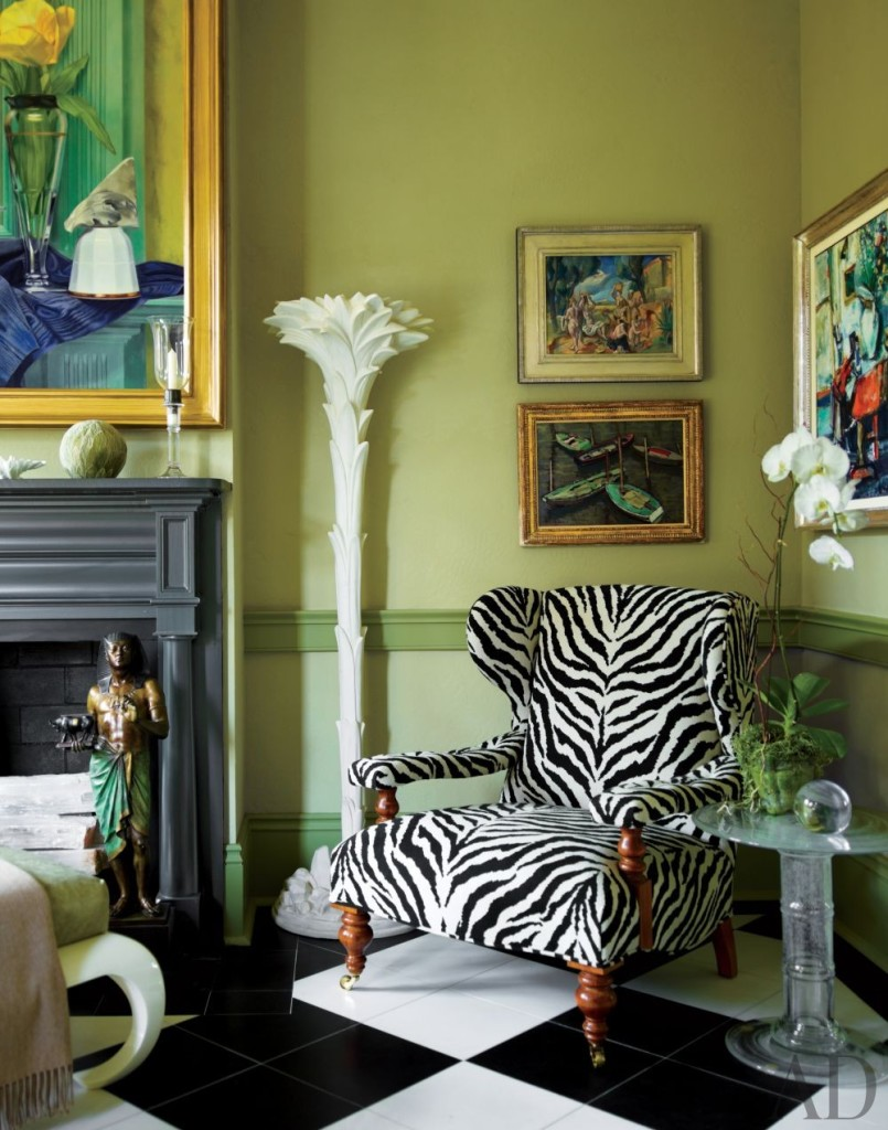 traditional-living-room-green paint walls black and white checkered tiles zebra sofa chair pinterest home decorating ideas photos online furniture how to decorate corner make home more positive