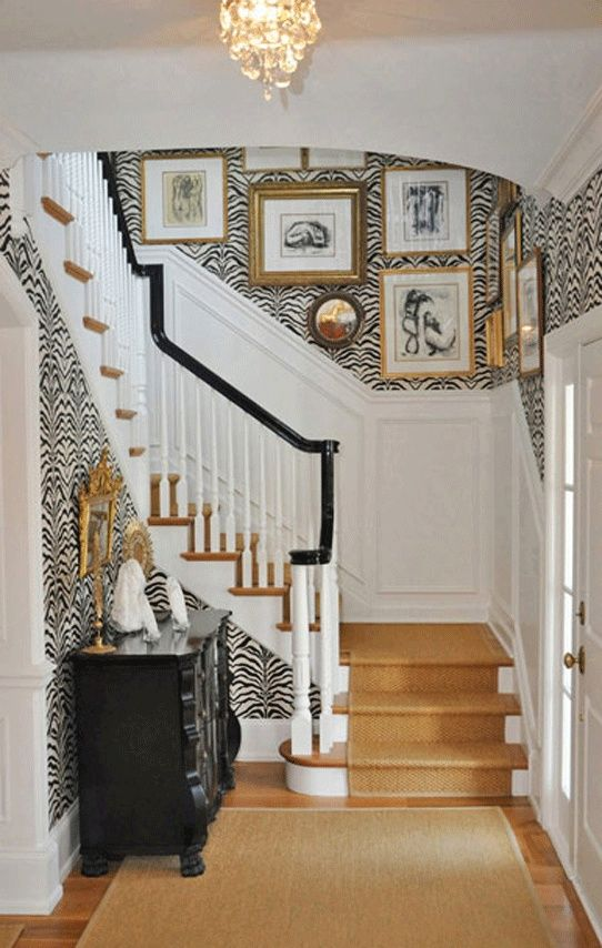 zebra print pattern wallpaper ideas house entrance staircase white and black stairs carpet runner ideas chandelier front door pinterest decor design ideas diy on a budget easy