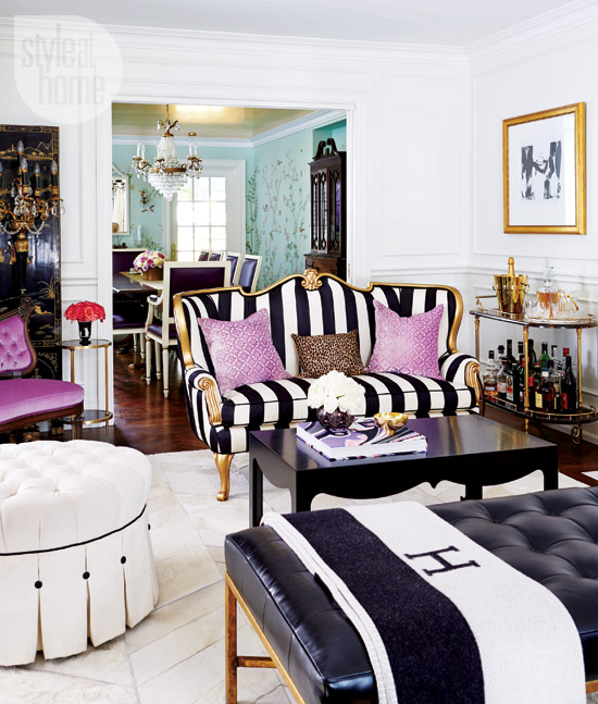 Black And White Striped Couch Hollywood Decorating Turquoise Wallpaper Velvet Purple Chair Dining Room