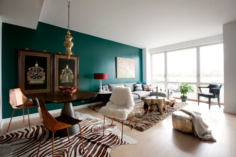 Contemporary Home Living Room Green Teal Emerald Walls Paint Zebra Rug Carpet Sheepskin Decor Daux Fur