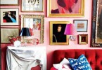eclectic art red sofa tufted valentines day decor gallery wall picture frames ideas pinterest pink walls family room living room decor interior design miles redd shop roomideas