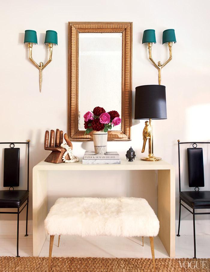 eclectic contemporary vanity bedroom desk office space nate berkus vogue interior design decor sheepskin bench gold mirror ideas shop room ideas modern