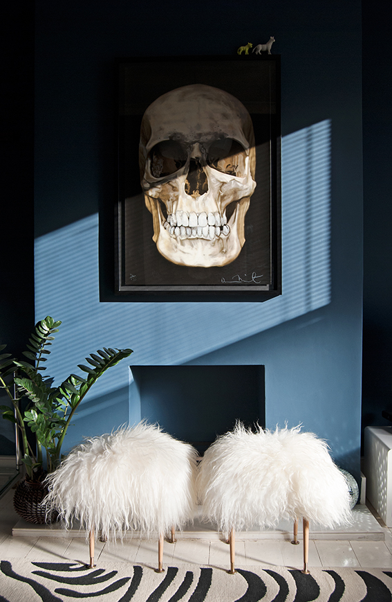 Sheepskin Stool Skull Painting Decor Blue Dark Living Room Pinterest  Inspired Zebra Rug Faux Fur Furniture