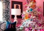 pink family room bedroom black white wallpaper girly white christmas tree candy ornaments candyland kids ecorating ideas holidays diy pinterest decor affordable