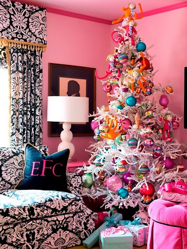 pink family room bedroom black white wallpaper girly white christmas tree candy ornaments candyland kids ecorating - Pink Christmas Decorations
