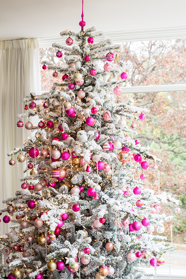 pink white and gold christmas tree decor snow branches feminine urban modern christmas how to diy cool ideas shop room ideas