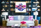 abstract artwork purple persian rug built in bookshelves dark blue how to hang artwork in your home indigo family living room space design shop-room-ideas