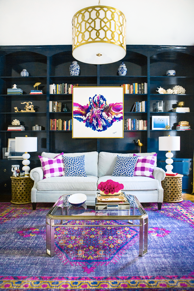 Abstract Artwork Purple Persian Rug Built In Bookshelves Dark Blue How To Hang Your