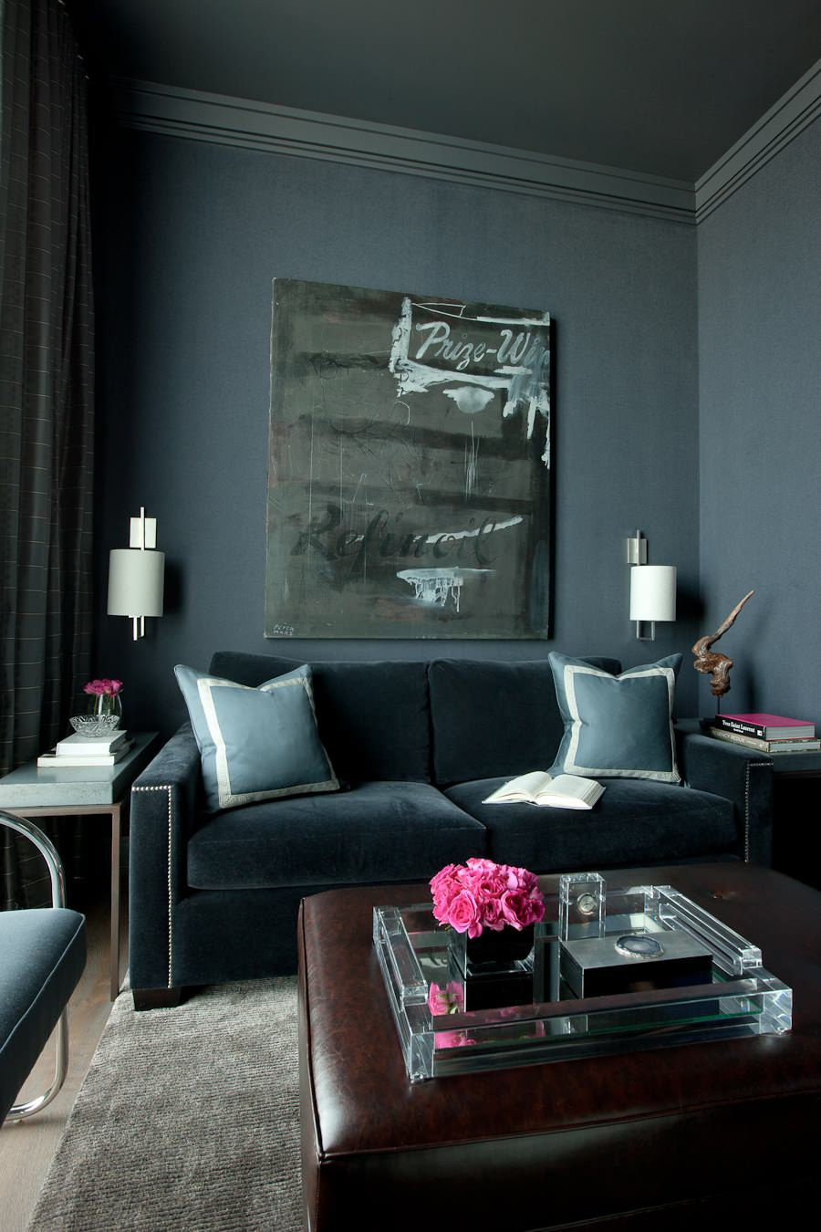 Which type of velvet sofa should you buy for your home for Black grey interior design