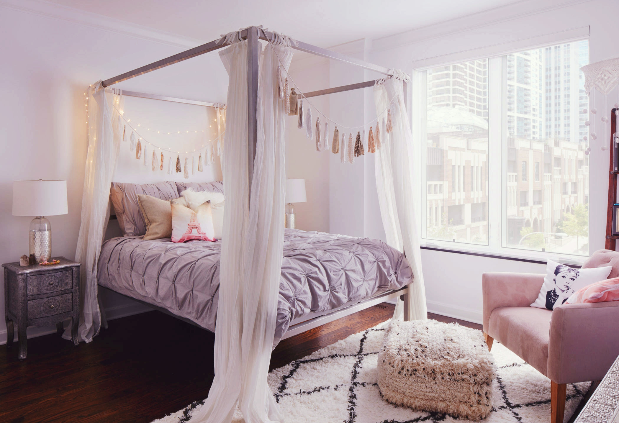 Lilac Gray Serenity Grey Rose Quartz Pantone 2016 Color Trend Pastel Pink Rose Lavender Bohemian Bedroom 4 Post Bed Curtains Feather Decor Bohemian Condo Girly Feminine Bedroom Shop Room Ideas Shop Room Ideas