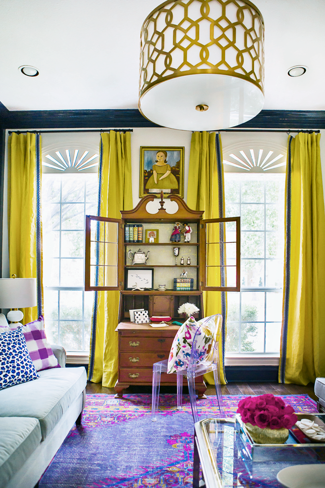 Yellow Curtains Long French Window Dressing Ideas Purple Family Living Room  Persian Rug Eclectic Style Home