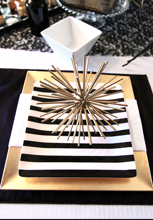 Black-and-Gold-Glamtablescape table setting how to set stripe wedding bridal shower inspiration pinterest gold flatware cutlery plates copy