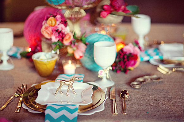 Radiant-table-setting-with-gold-details chevron wedding pinterest bridal shower inspiration country barn theme shop room ideas how to set table tablescape
