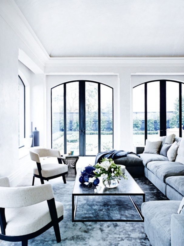 arched windows doors ceiling georgian home light blue living rom art deco rug ideas inspiration
