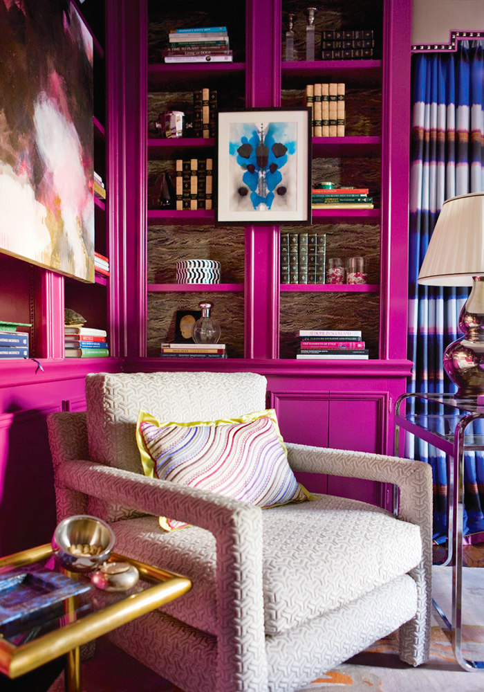 Decorating With Jewel Color Tone Rooms Hot Pink Bookshelf Fuchsia Feminine  Library Office Ideas Girly Eclectic Part 93