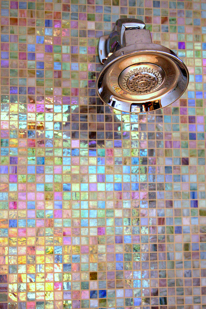 girly feminine pink mosaic pastel tiles purple blue metallic small square shop room ideas shower ideas fixtures cleaning tiles renovation