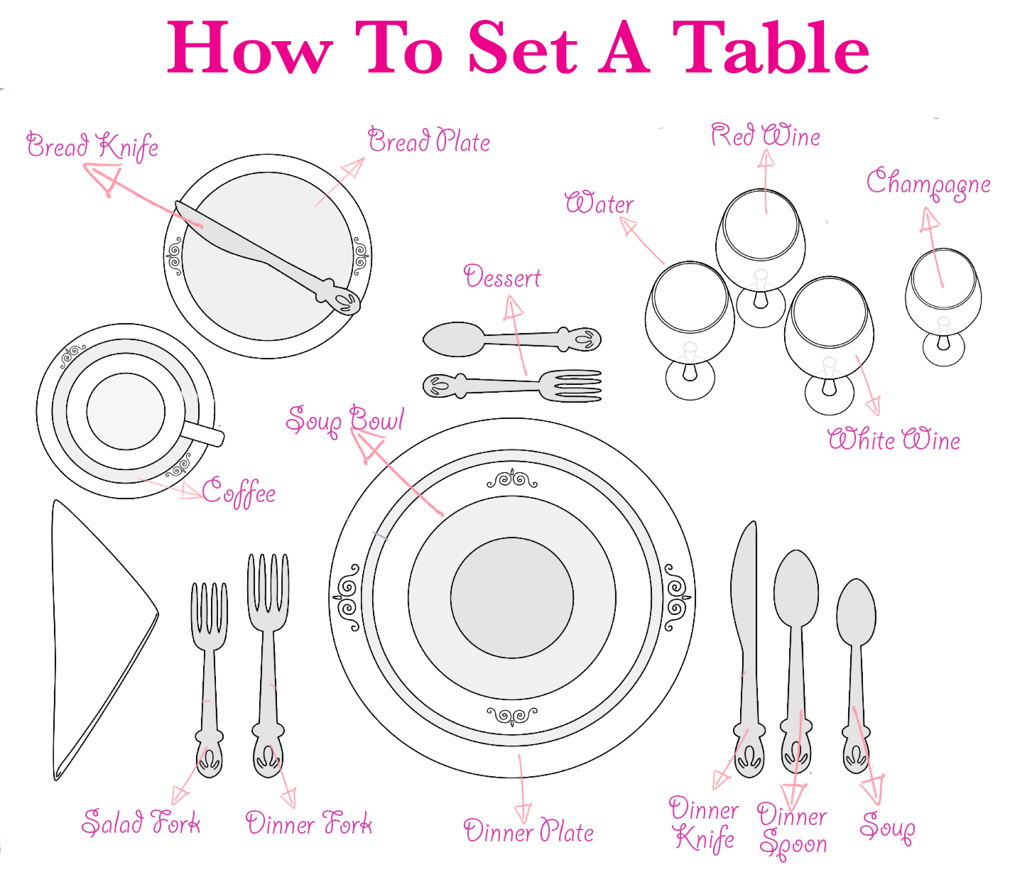 Table setting formal interiors design for Fancy dinner table