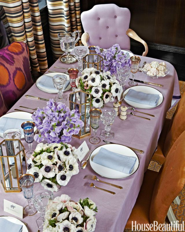 Lilac Purple Table Setting Ideas Inspiration Wedding Bridal Shower Gold For Knives Cutlery Dinnerware Pinterest White