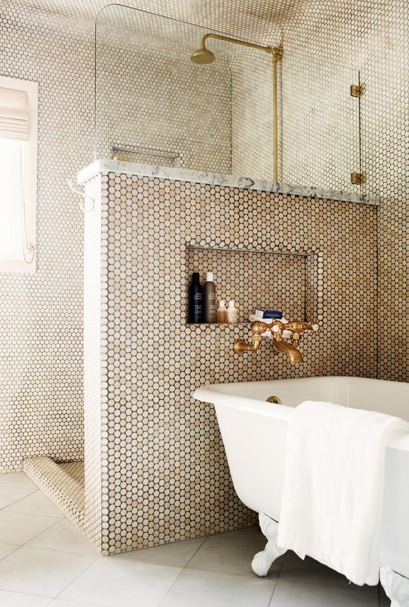 metallic gold bathroom round circle tiles mosaic lion claw bathtub shower traditional metallic copper step in