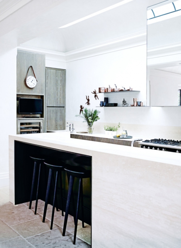modern white kitchen island black stools french tile floor georgian mansion art deco inspiration